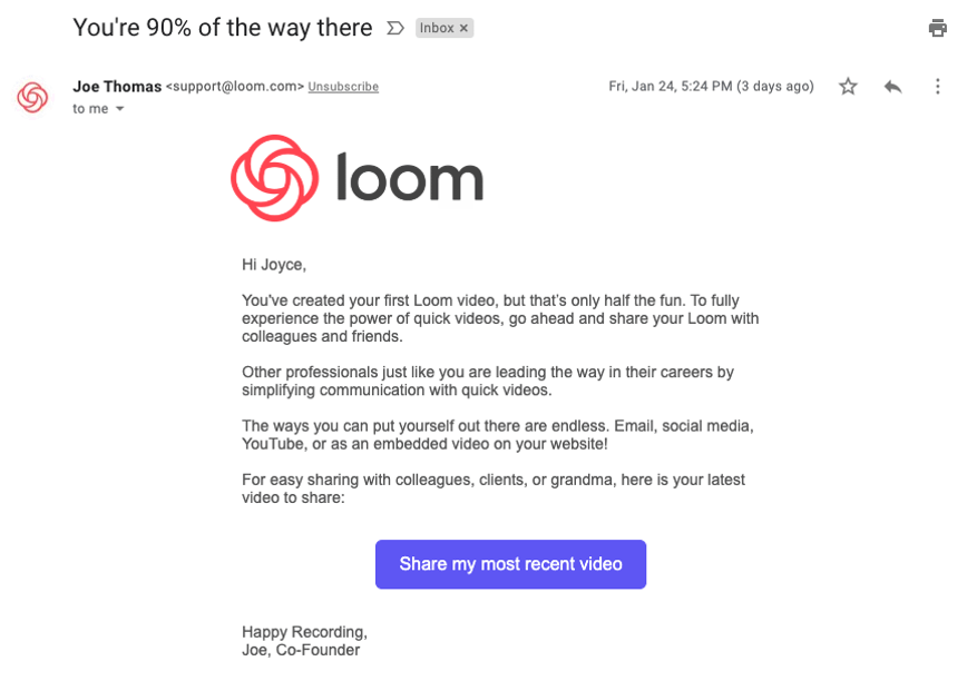Loom email structure
