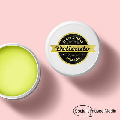 Delicado pomade branding and product packing