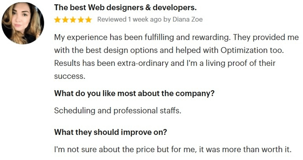An SEO client review on GoodFirms