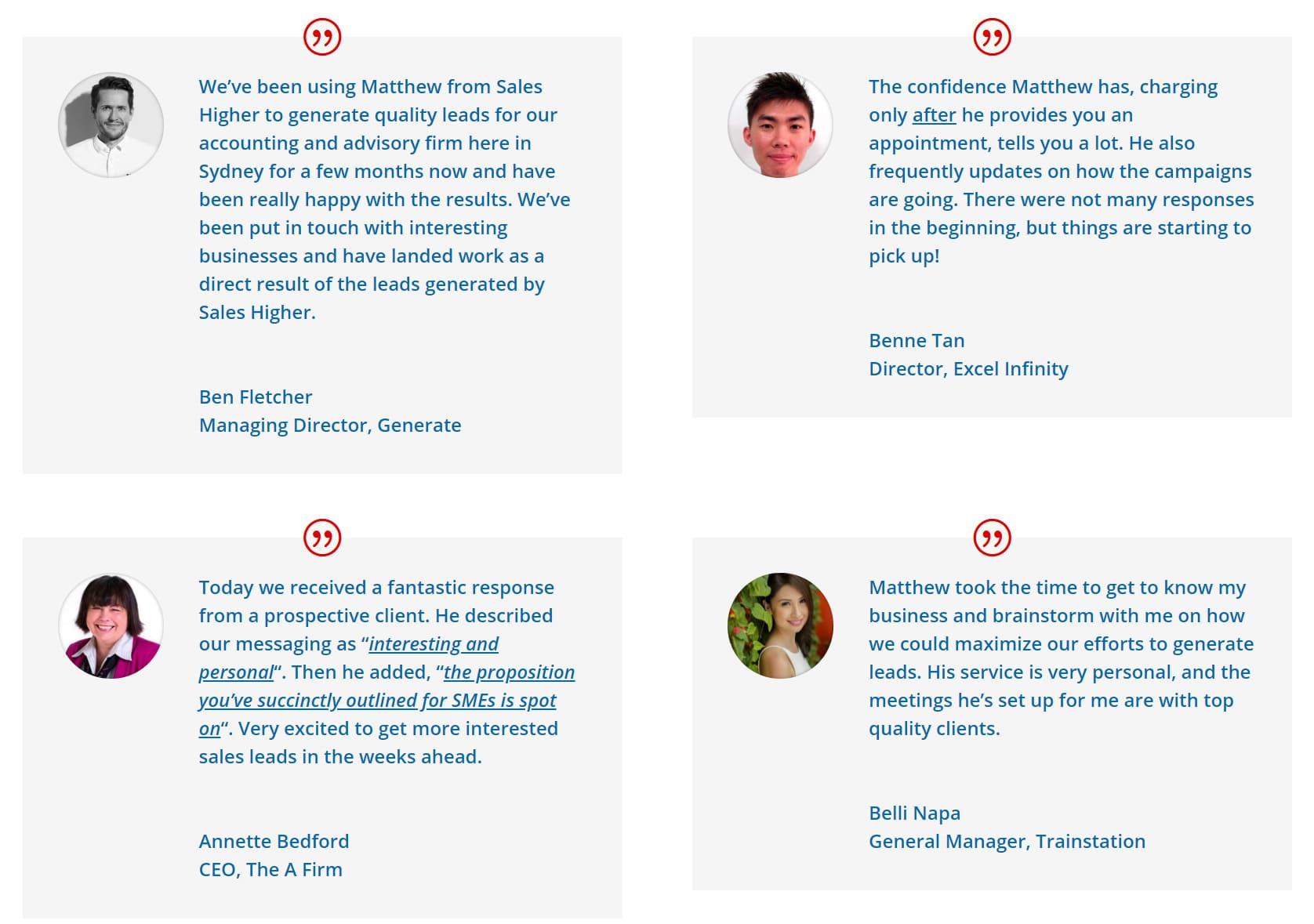 Various customer reviews displayed on the Sales Hire homepage.