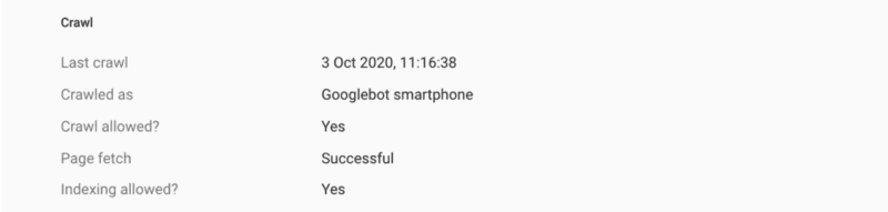 Screenshot of Google's search console displaying the crawl results. It shows Crawled as: Googlebot Smartphone.