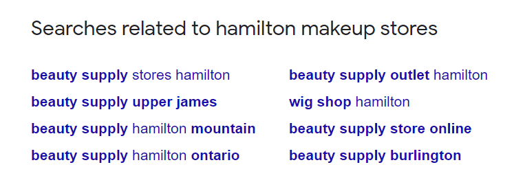 Displaying the searches in Google related to Hamilton makeup stores
