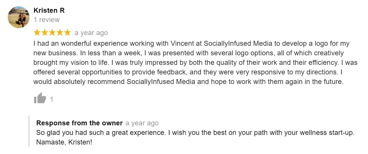 A brief and simple reply to a positive Google Business review.