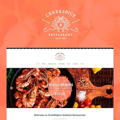 A look at the website design for Crab & Spice restaurant.