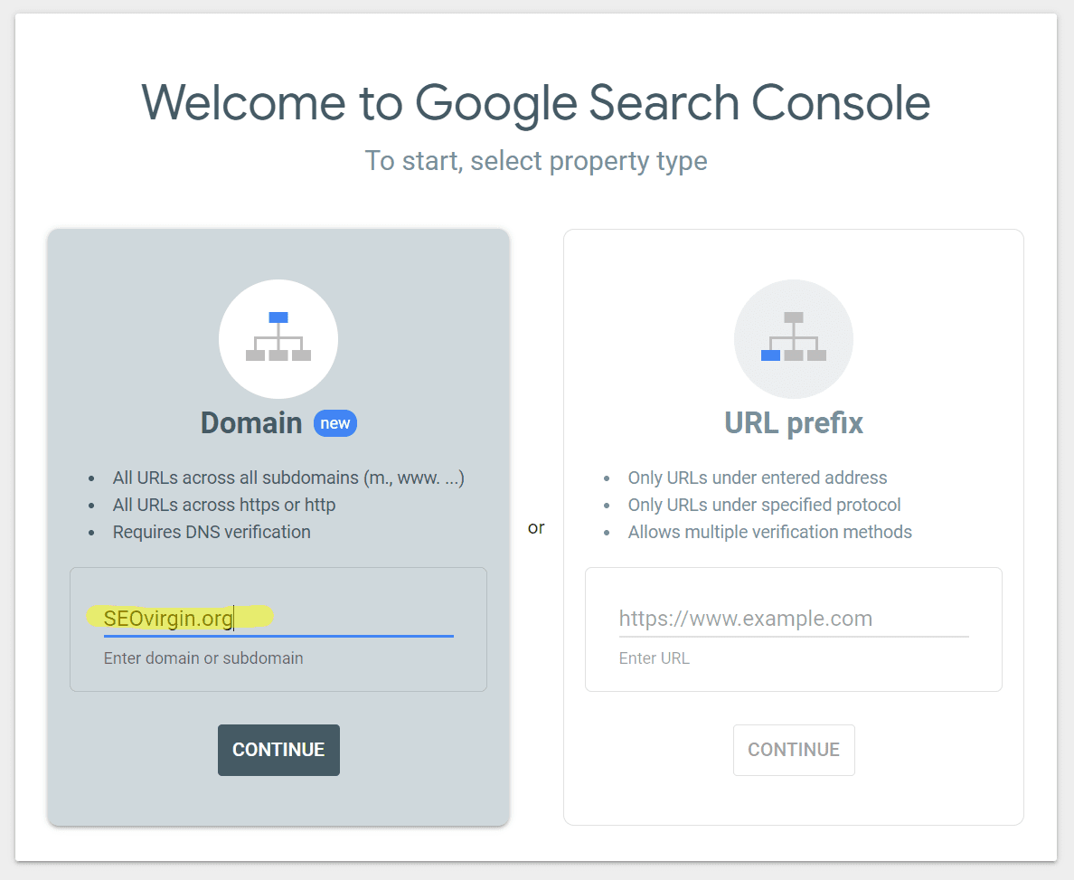 Registering a domain for Google Search Console