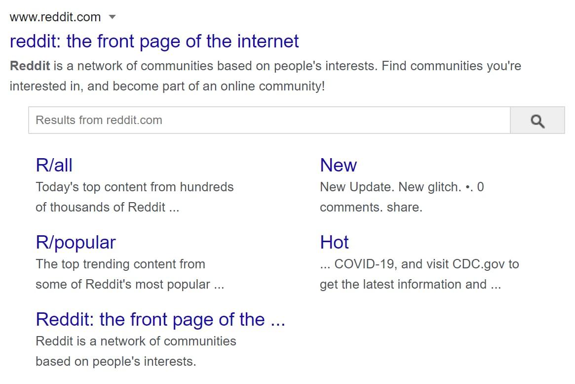Search result showing Reddit's tagline and meta description.