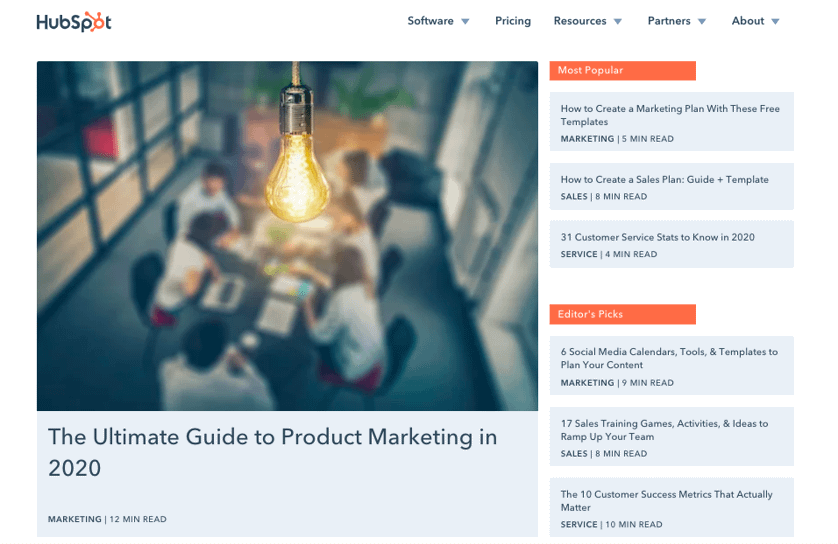 Hubspot's blog page