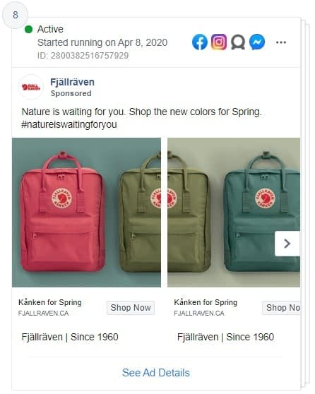 Fjällräven carousel Facebook ad