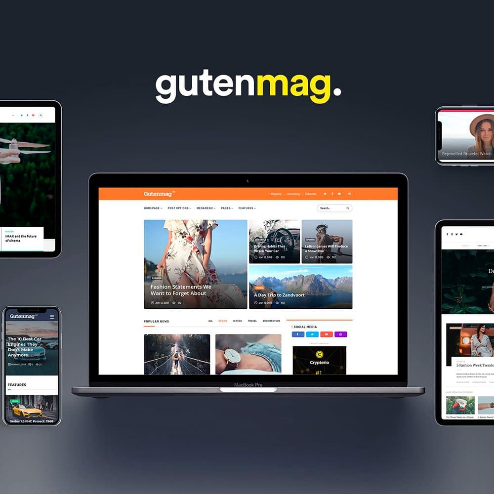 Fully responsive website for gutenmag.