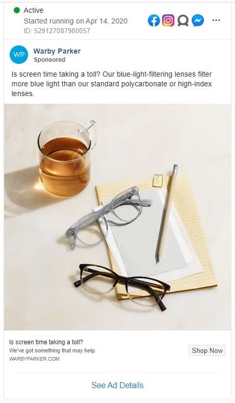 Warby Parker Facbook ad