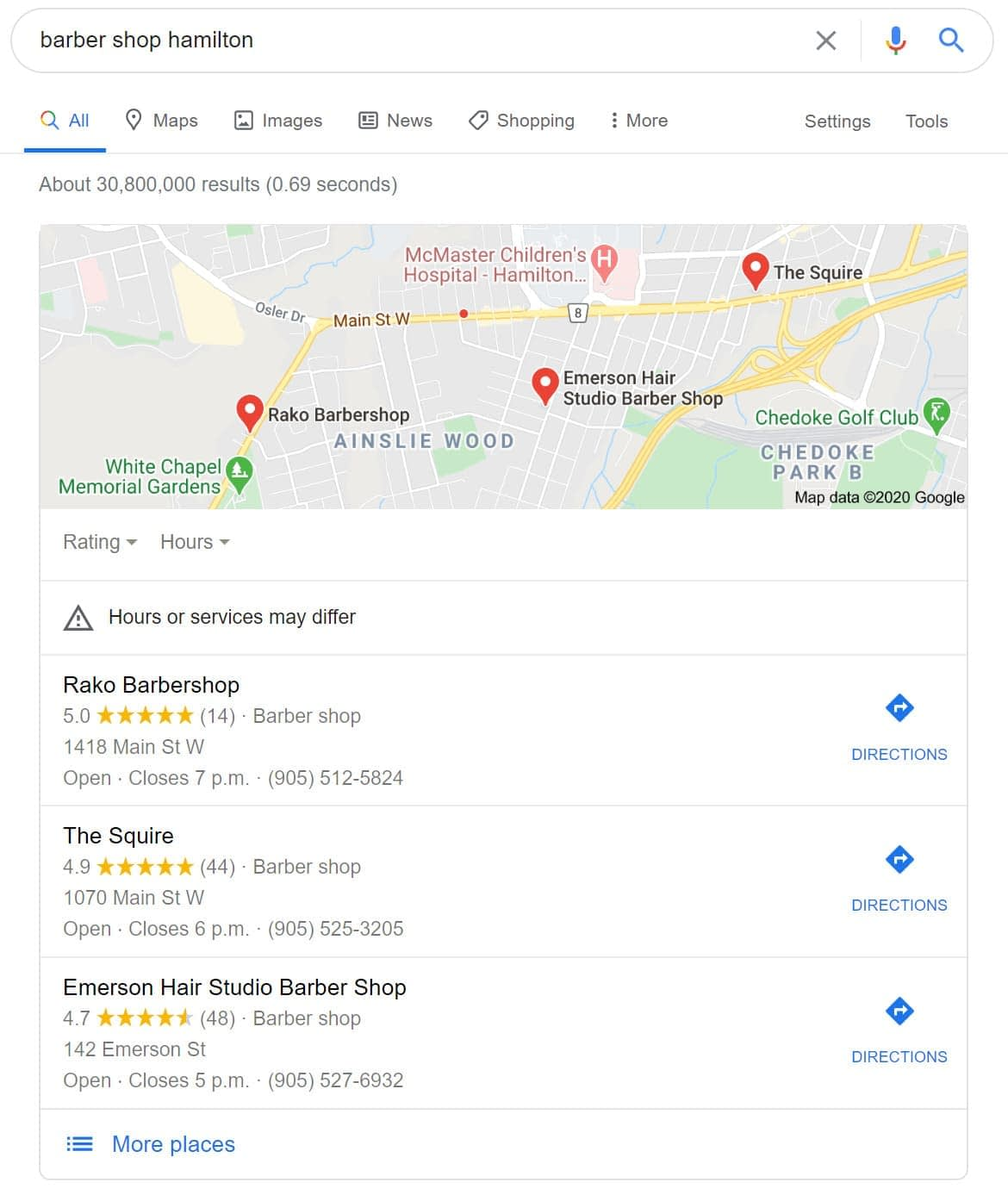 Local 3 Pack of search results for 'barber shop in Hamilton'