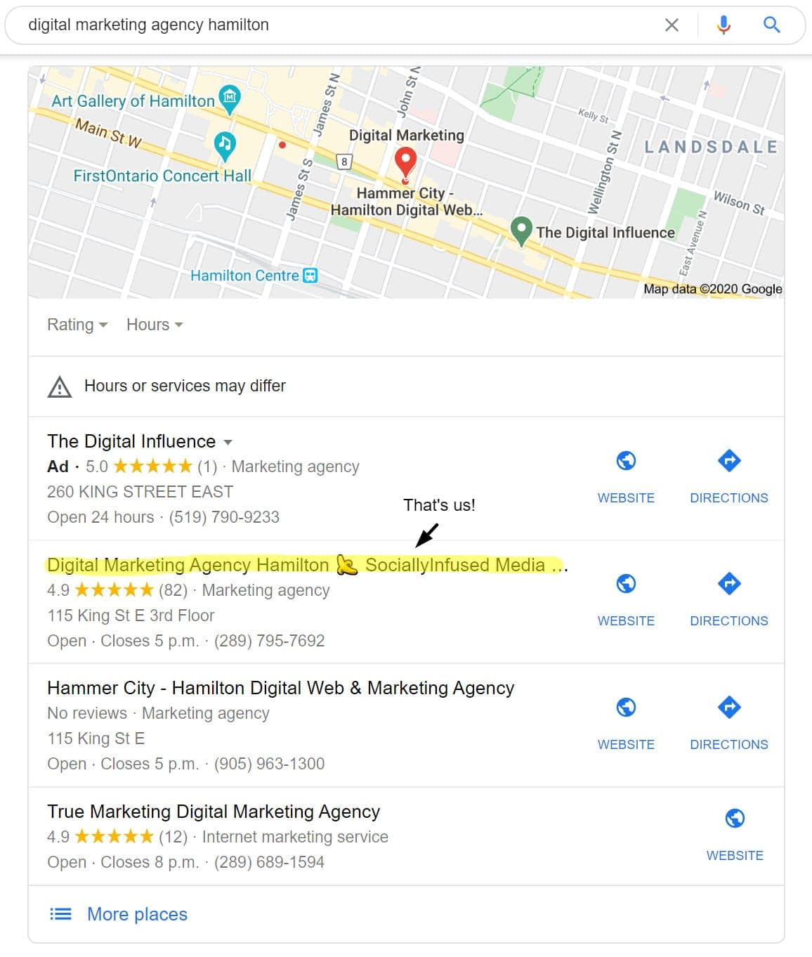 Our agency, SociallyInfused Media, listed on the Google Local 3 Pack with 82 Google reviews.