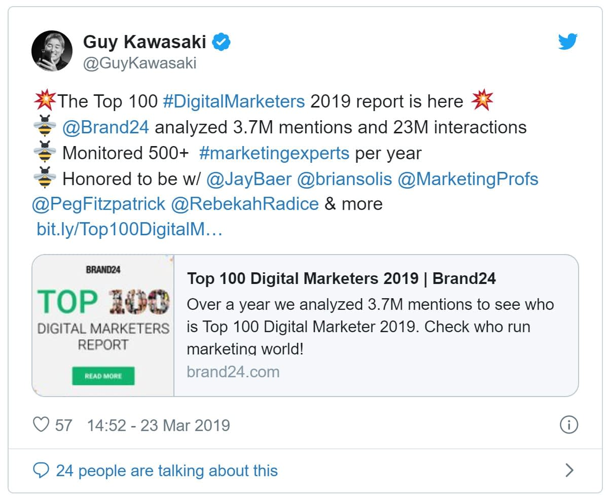Guy Kawasaki tweets about Brand24