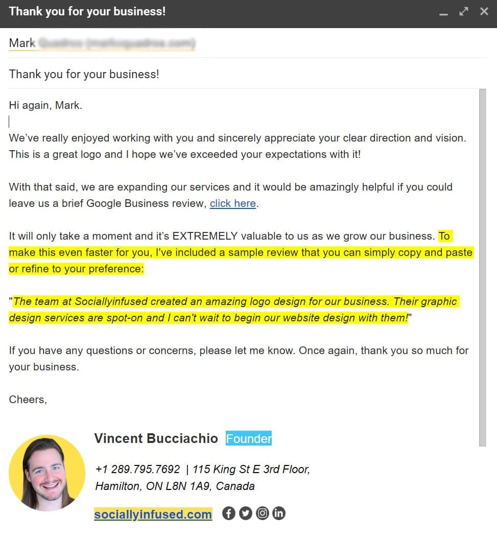 An email from Vincent Bucciachio, at SociallyInfused Media, to a client. He thanks them for their business and also requests a GMB review.