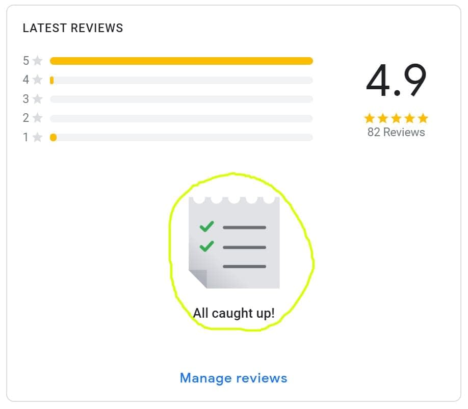 Taking a look at the Google My Business backend to manage Google Review replies and ensure that all have been replied to.