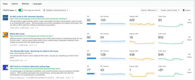Using Ahrefs content explorer tool and searching for trending content for the term 'seo guide'