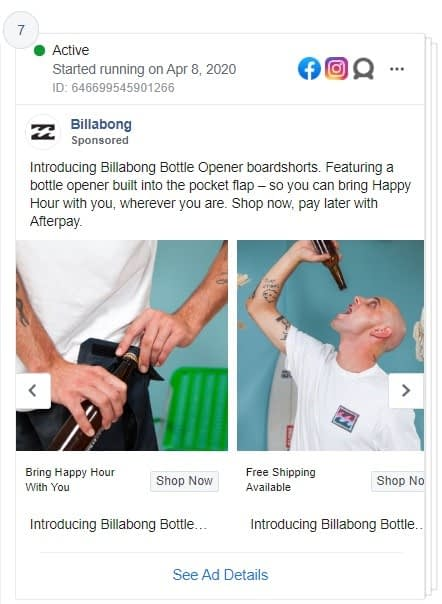 Billabong Facebook ad showing their 'bottle opener' boardshorts
