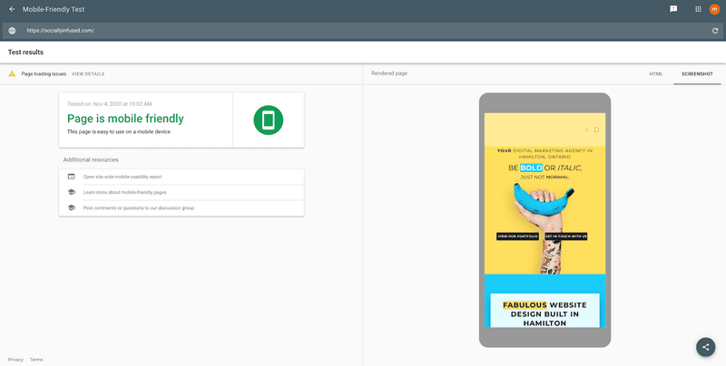 """Screenshot of the SociallyInfused website URL inserted into Google's mobile usability test website. Results show that the """"Page is mobile friendly."""""""
