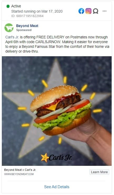 Beyond meat Facebook ad showcasing their burger