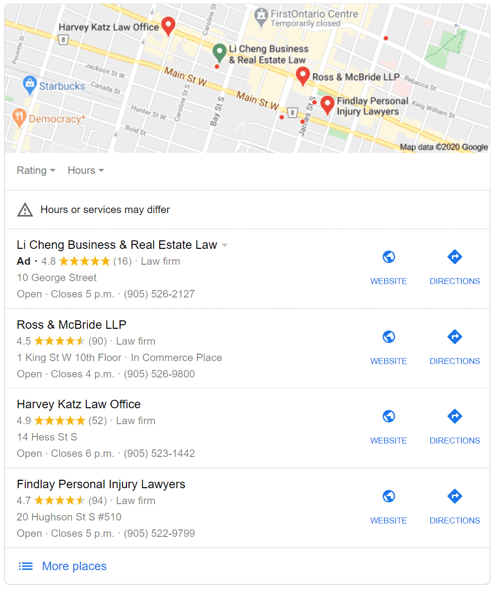 Screenshot of a Google results page for local 'law firm in hamilton'search showing a local 3-pack
