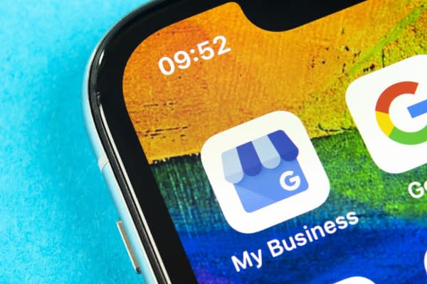 An iPhone showcasing the Google My Business app for business owners.