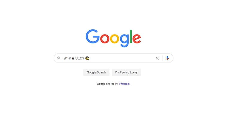 "Search query ""What is SEO?"" into Google.ca"