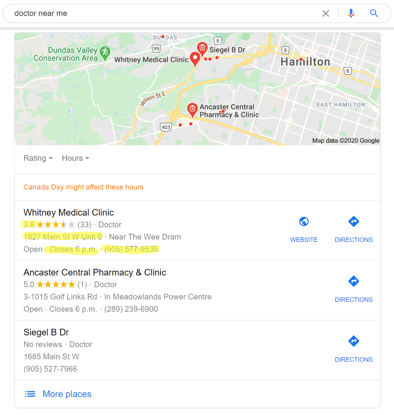 Google results page for local 'doctor's office' displaying the various elements of the local 3-pack
